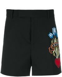 schwarze bestickte Shorts von Gucci