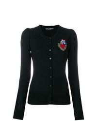 schwarze bestickte Strickjacke von Dolce & Gabbana