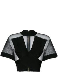 schwarze Bluse aus Netzstoff von Balmain