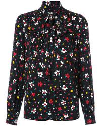 schwarze Bluse mit Blumenmuster von Marc Jacobs