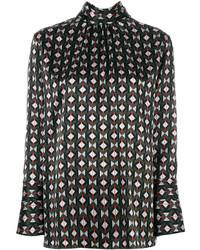 schwarze Bluse mit geometrischem Muster von Fendi