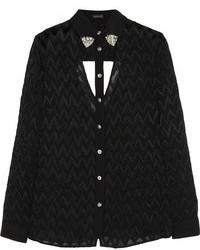 schwarze Bluse mit Knöpfen mit Ausschnitten von Versace