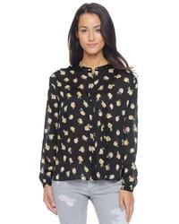 schwarze Bluse mit Knöpfen mit Blumenmuster