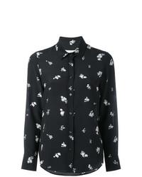 schwarze Bluse mit Knöpfen mit Blumenmuster von Golden Goose Deluxe Brand