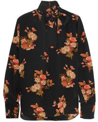 schwarze Bluse mit Knöpfen mit Blumenmuster von Valentino