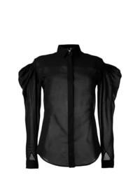 schwarze Bluse mit Knöpfen von Saint Laurent