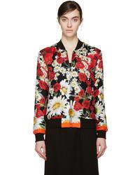 schwarze Bomberjacke mit Blumenmuster von Dolce & Gabbana