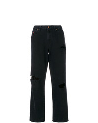 schwarze Boyfriend Jeans mit Destroyed-Effekten von Diesel