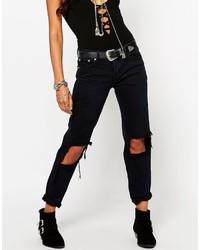 schwarze Boyfriend Jeans mit Destroyed-Effekten von Glamorous