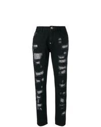 schwarze Boyfriend Jeans mit Destroyed-Effekten von Philipp Plein