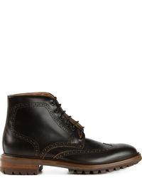 schwarze Brogue Stiefel aus Leder