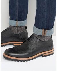 schwarze Brogue Stiefel aus Leder von Asos