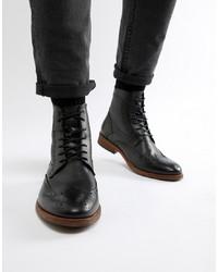 schwarze Brogue Stiefel aus Leder von Barbour