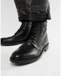 schwarze Brogue Stiefel aus Leder von Base London