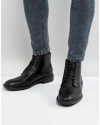 schwarze Brogue Stiefel aus Leder von Brave Soul