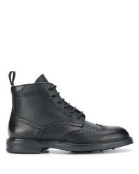 schwarze Brogue Stiefel aus Leder von Canali