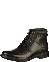 schwarze Brogue Stiefel aus Leder von Clarks