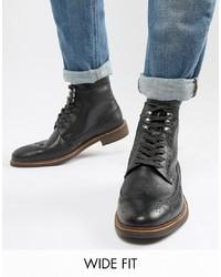 schwarze Brogue Stiefel aus Leder von Dune