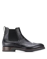 schwarze Brogue Stiefel aus Leder von Ermenegildo Zegna