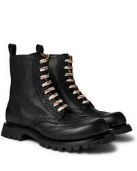 schwarze Brogue Stiefel aus Leder von Gucci