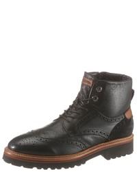schwarze Brogue Stiefel aus Leder von La Martina