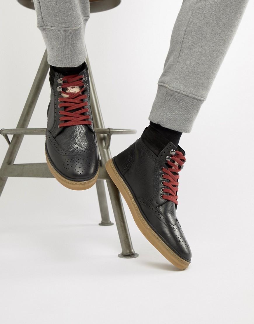 schwarze Brogue Stiefel aus Leder von Original Penguin