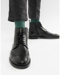 schwarze Brogue Stiefel aus Leder von Pier One