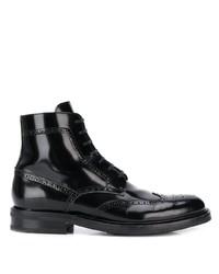 schwarze Brogue Stiefel aus Leder von Saint Laurent