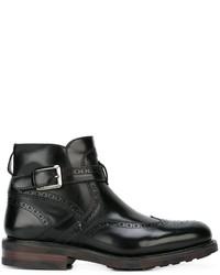 schwarze Brogue Stiefel aus Leder von Salvatore Ferragamo