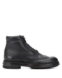 schwarze Brogue Stiefel aus Leder von Santoni