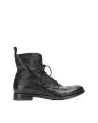 schwarze Brogue Stiefel aus Leder von Tagliatore