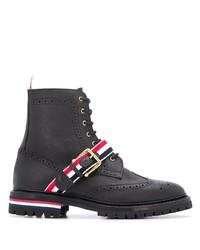 schwarze Brogue Stiefel aus Leder von Thom Browne