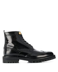 schwarze Brogue Stiefel aus Leder von Versace