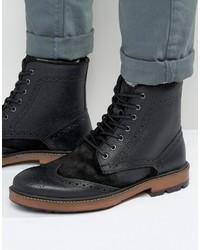 Schwarze Brogue Stiefel aus Wildleder von Frank Wright