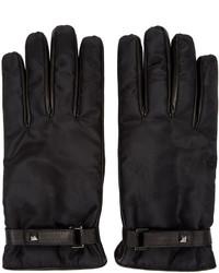 schwarze Camouflage Lederhandschuhe von Valentino