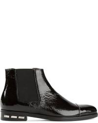 schwarze Chelsea-Stiefel aus Leder von Lanvin