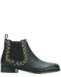 schwarze Chelsea-Stiefel aus Leder von RED Valentino