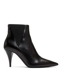 schwarze Chelsea-Stiefel aus Leder von Saint Laurent