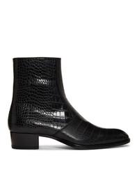 schwarze Chelsea Boots aus Leder von Saint Laurent