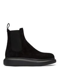 schwarze Chelsea Boots aus Wildleder von Alexander McQueen