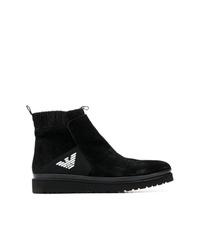 schwarze Chelsea Boots aus Wildleder von Emporio Armani