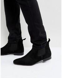 schwarze Chelsea-Stiefel aus Wildleder von Silver Street
