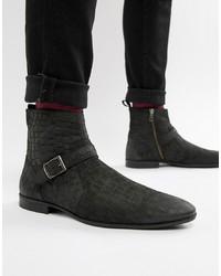 schwarze Chelsea-Stiefel aus Leder mit Schlangenmuster