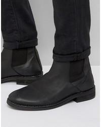 Schwarze Chelsea-Stiefel aus Leder von AllSaints