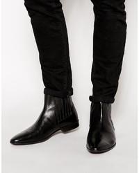 schwarze Chelsea-Stiefel aus Leder von Asos