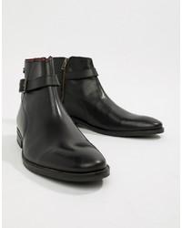 schwarze Chelsea-Stiefel aus Leder von Base London