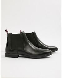 schwarze Chelsea-Stiefel aus Leder von Ben Sherman