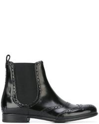 schwarze Chelsea-Stiefel aus Leder von Dolce & Gabbana
