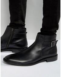 Schwarze Chelsea-Stiefel aus Leder von Dune