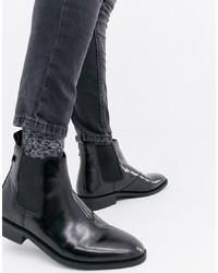 schwarze Chelsea-Stiefel aus Leder von Farah